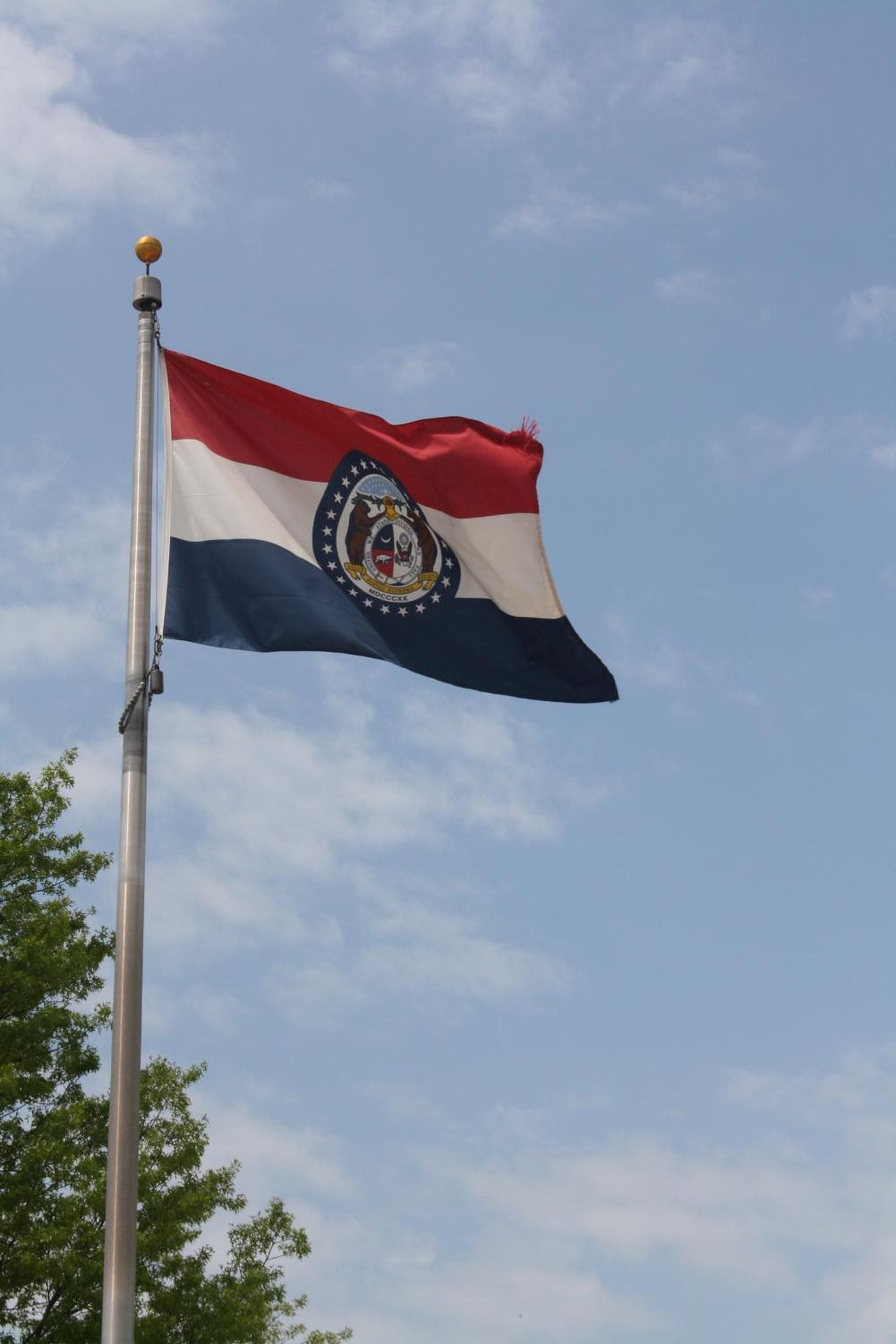 The Missouri flag stands tall outside of school.