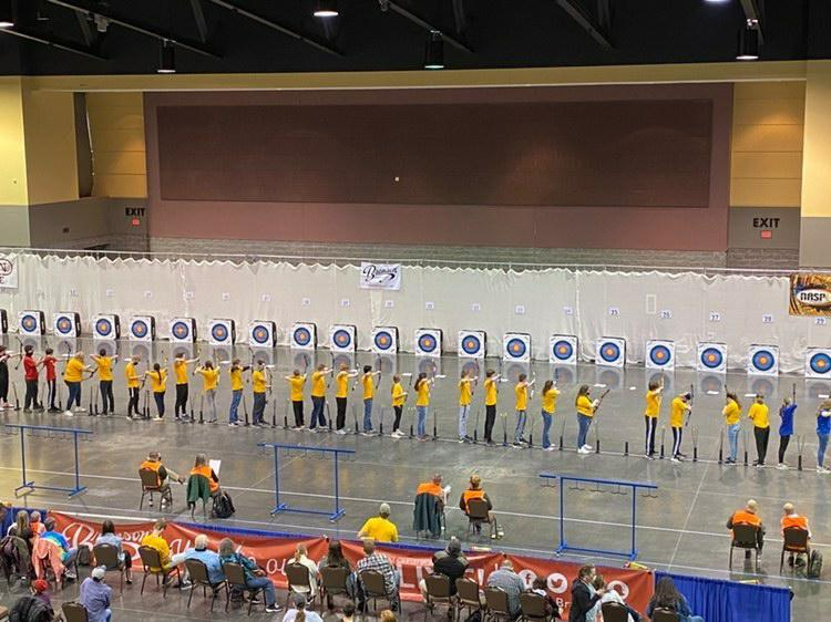 Photo of Kickapoo archery team competing, photo by Erica White